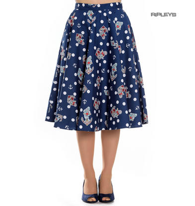 Hell Bunny 50s Rockabilly Blue Polka Dot Skirt OCEANA Anchors Nautical All Sizes