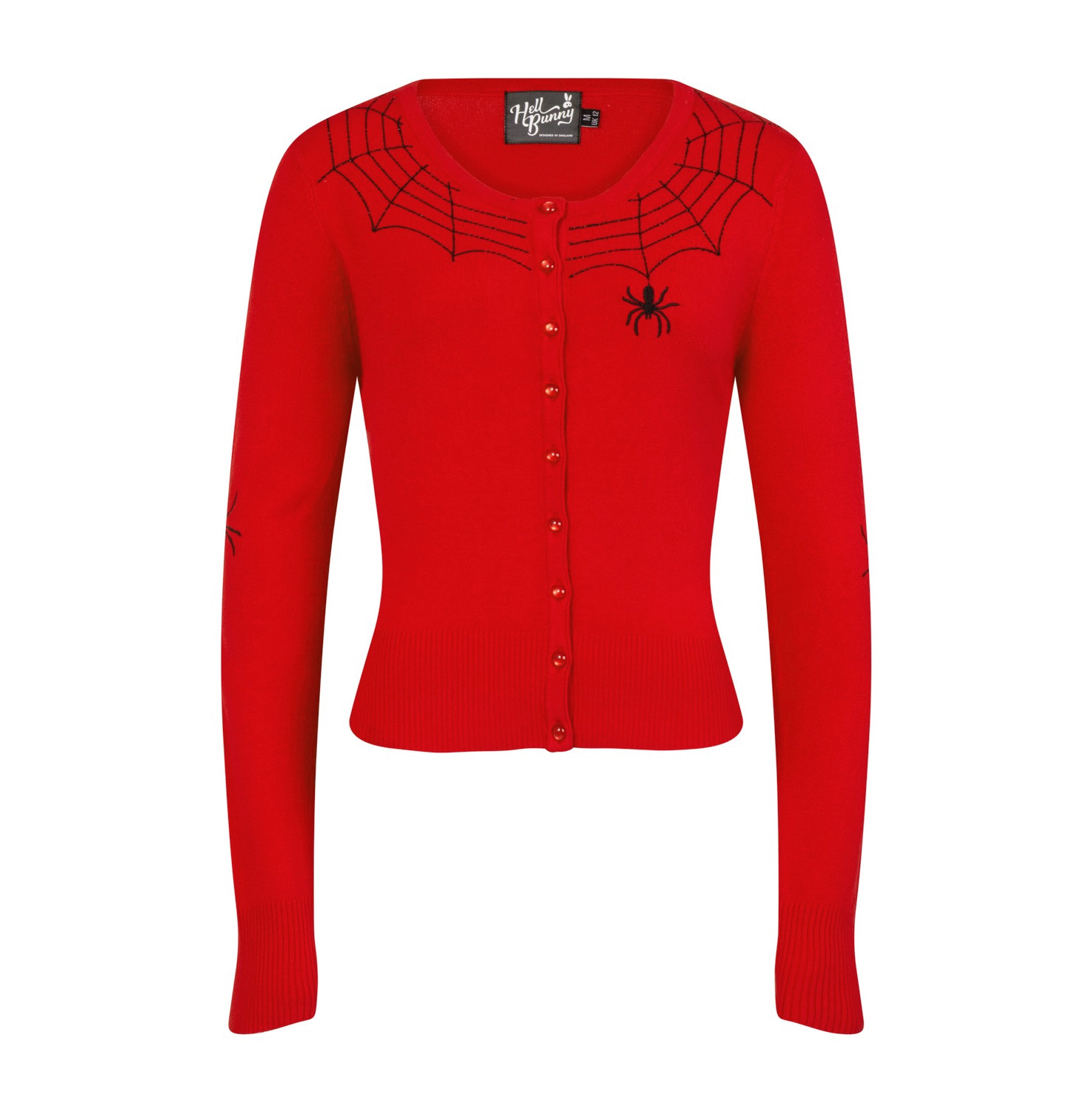 Sentinel Hell Bunny Ladies Gothic Halloween Cardigan Top SPIDER WEB Red All  Sizes 6f0258728