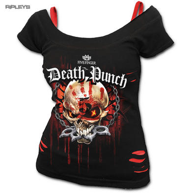 Spiral Ladies Metal Black Five Finger Death Punch ASSASSIN Rip 2in1 Top All Size