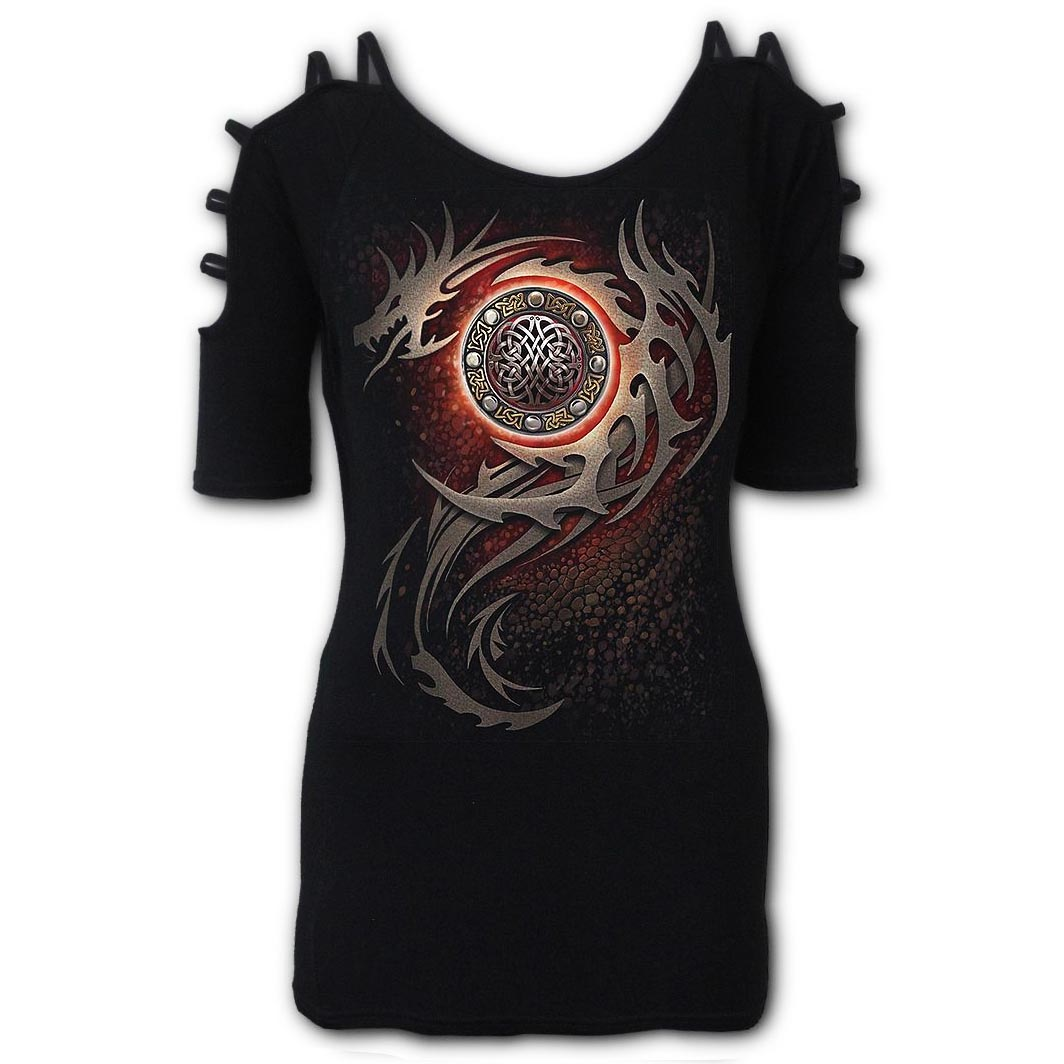Spiral-Direct-Ladies-Black-Goth-Top-Tribal-DRAGON-Eye-Straps-Shoulder-All-Sizes thumbnail 7