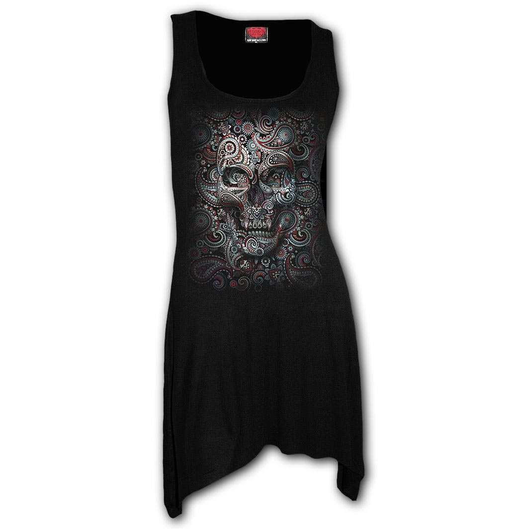 Spiral-Ladies-Gothic-ILLUSION-Paisley-Sugar-Skull-Camisole-Dress-Top-All-Sizes thumbnail 3
