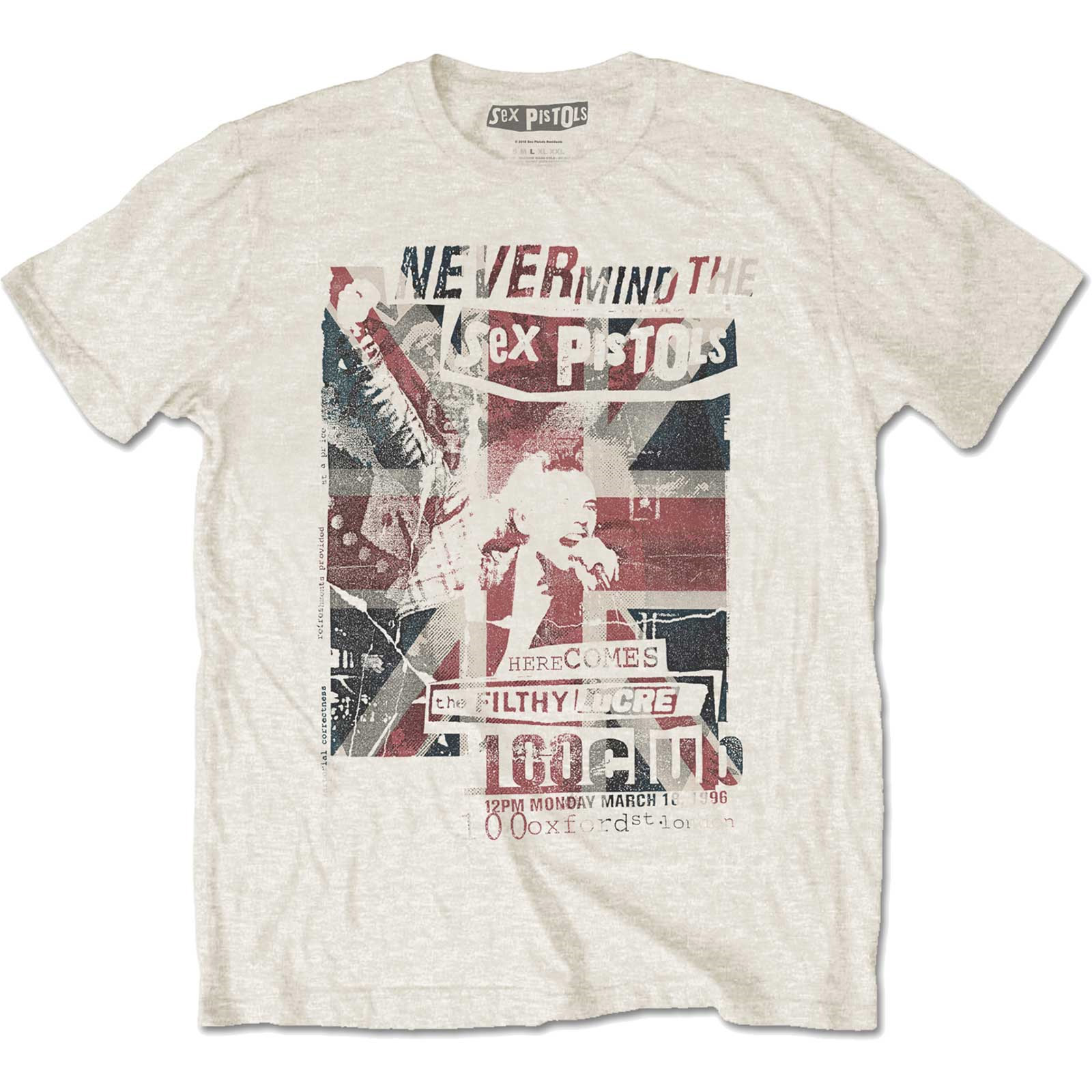 Official-T-Shirt-SEX-PISTOLS-Never-Mind-Punk-100-CLUB-Vintage-Natural-All-Size thumbnail 3