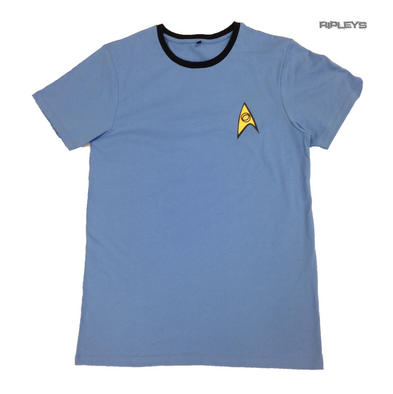 Official T Shirt STAR TREK Logo Science Medical Uniform Blue All Sizes