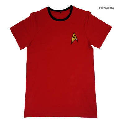 Official T Shirt STAR TREK Logo Security Engineering Uniform Red All Sizes