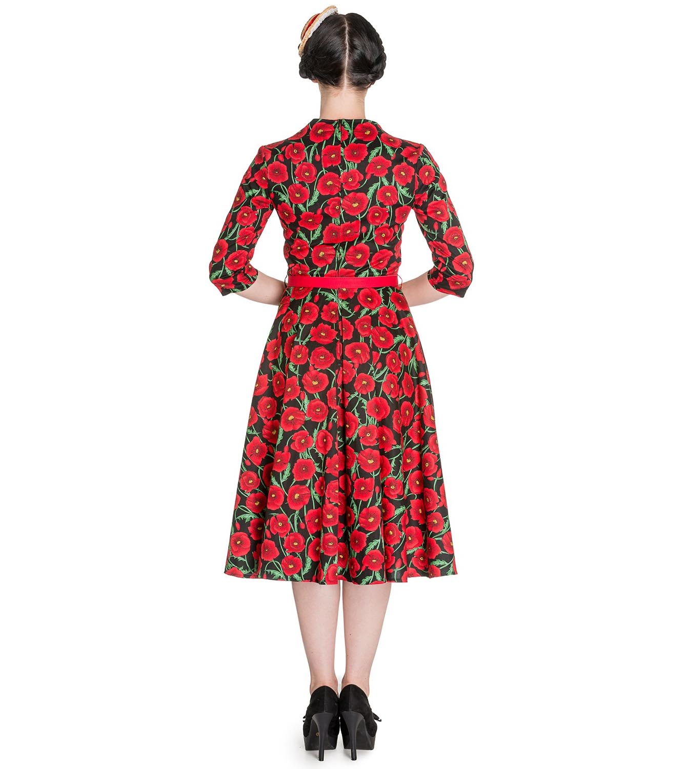 Hell-Bunny-50s-Dress-Pin-Up-POPPY-Red-Black-Flowers-3-4-Sleeve-All-Sizes thumbnail 5