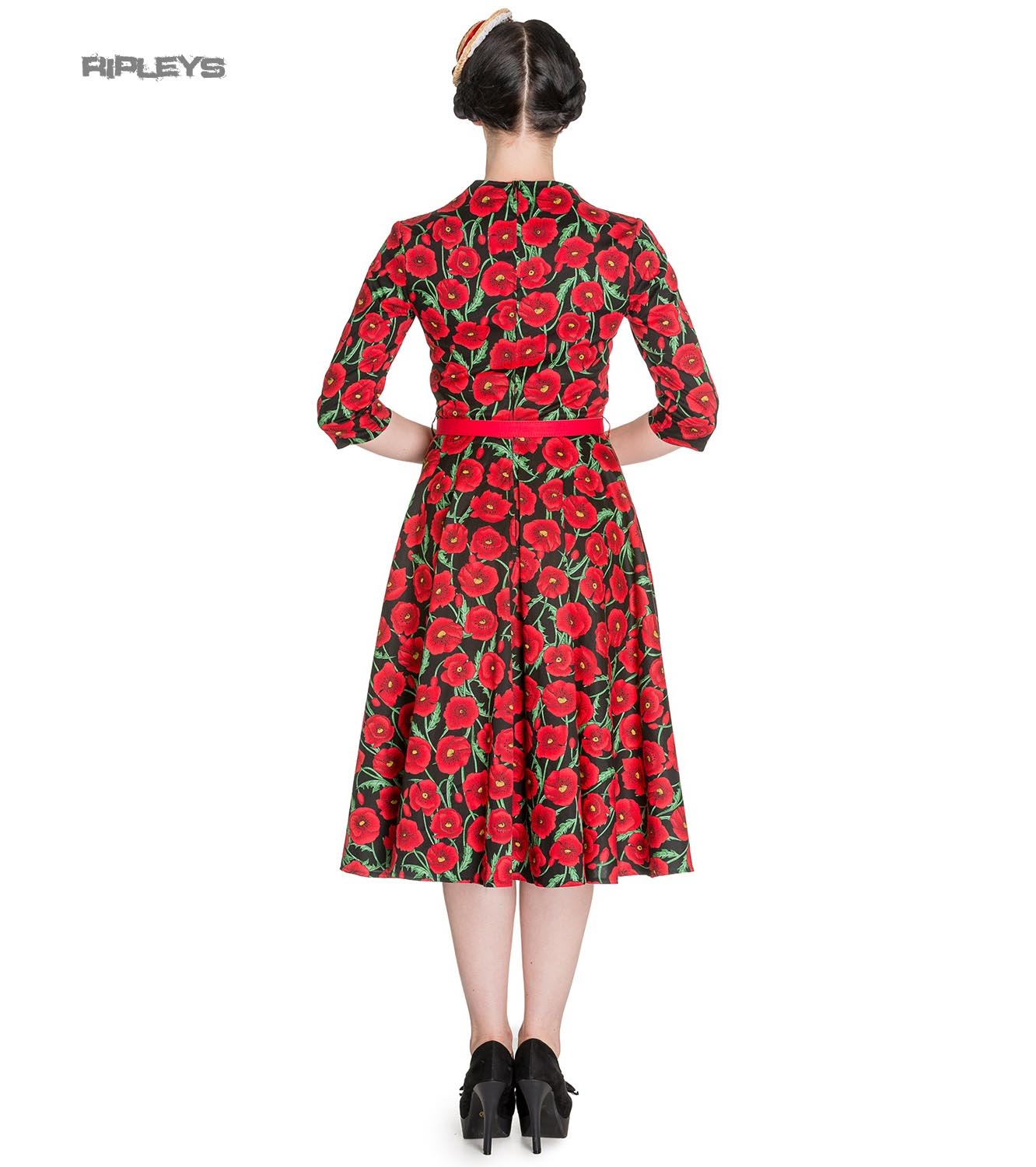 Hell-Bunny-50s-Dress-Pin-Up-POPPY-Red-Black-Flowers-3-4-Sleeve-All-Sizes thumbnail 4