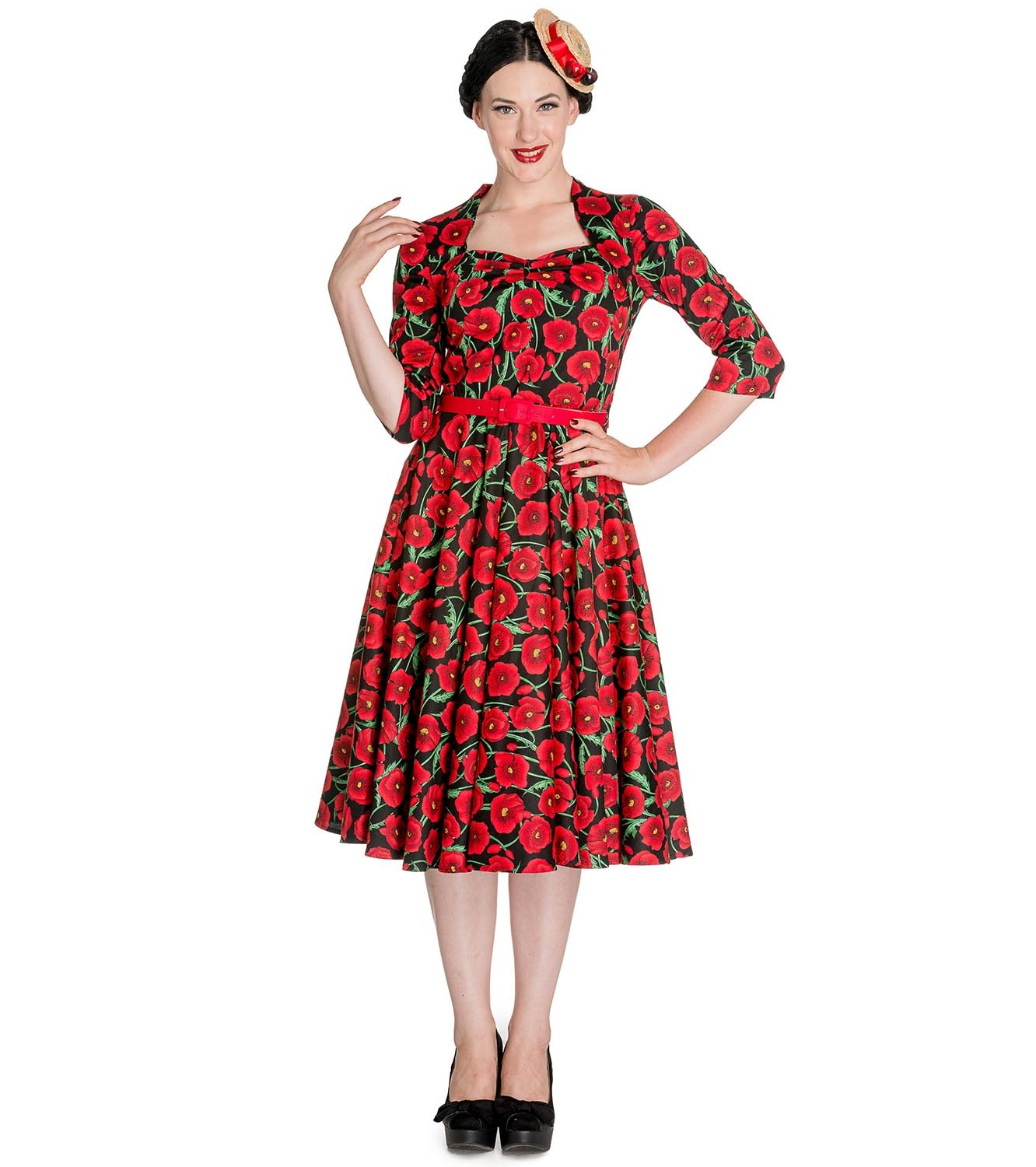 Hell-Bunny-50s-Dress-Pin-Up-POPPY-Red-Black-Flowers-3-4-Sleeve-All-Sizes thumbnail 3