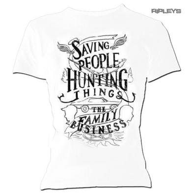 Official Skinny White T Shirt Supernatural Winchester 'Hunting Things' All Sizes