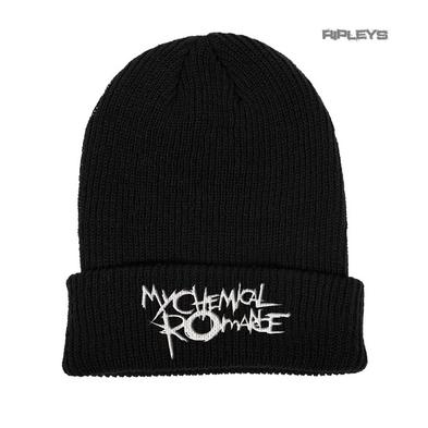 Official My Chemical Romance Black Beanie Hat Text BLACK PARADE Logo Gift