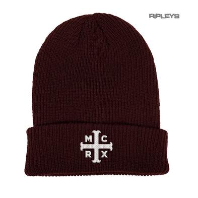 Official My Chemical Romance Red Beanie Hat Text MCRX Burgundy Logo Gift