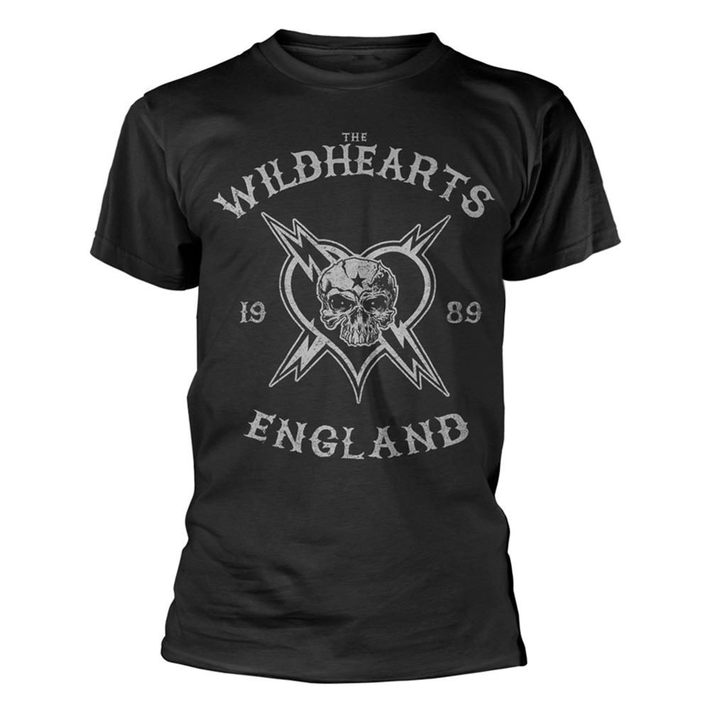 Camiseta-oficial-del-logotipo-gris-con-craneo-Wildhearts-Rock-039-Inglaterra-1989-039-todos-los miniatura 3