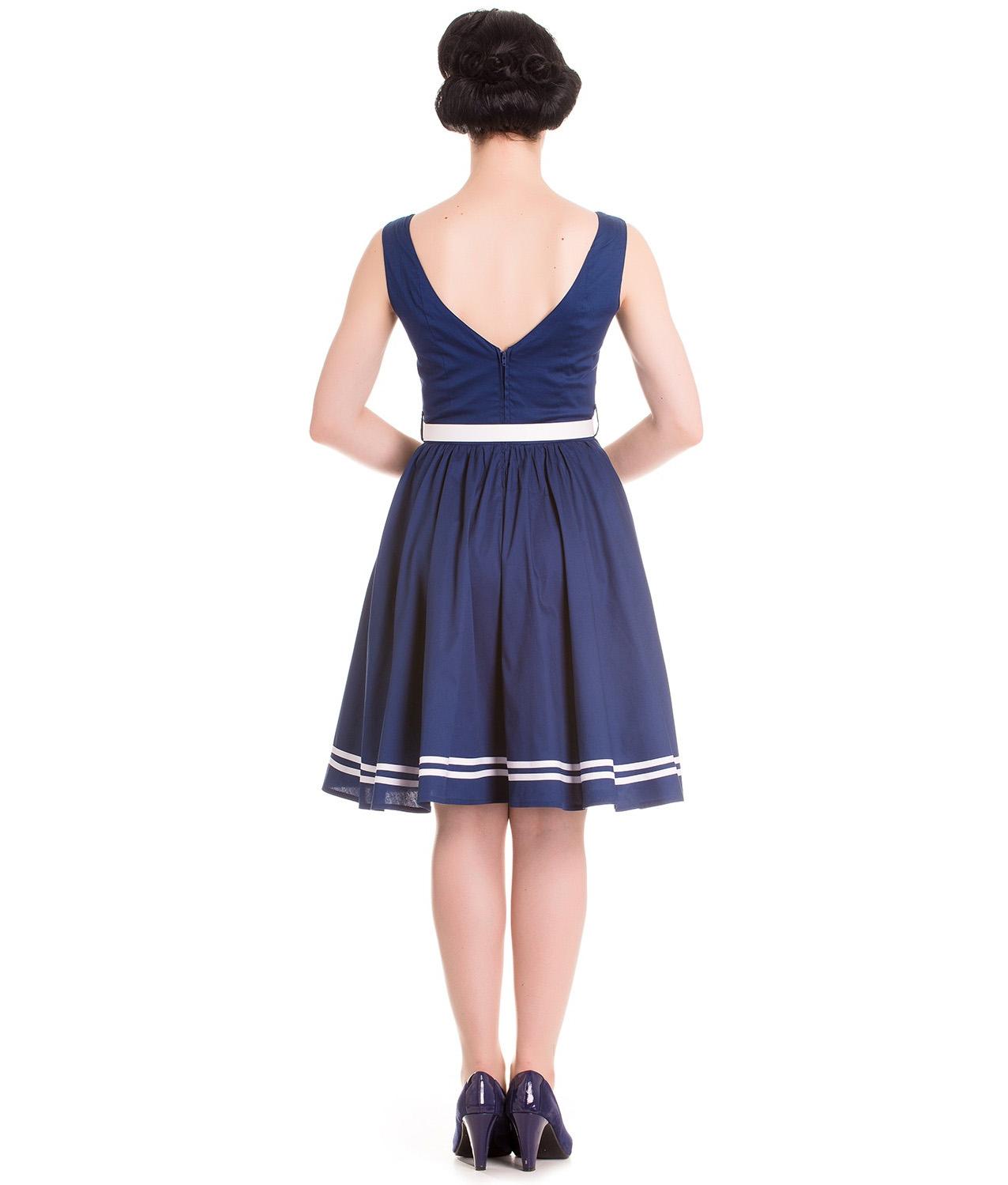 Hell-Bunny-Nautical-Sailor-Pin-Up-Mid-Length-50s-Dress-ARIEL-Navy-Blue-All-Sizes thumbnail 5