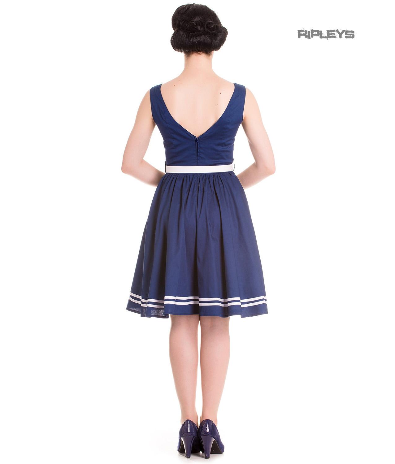 Hell-Bunny-Nautical-Sailor-Pin-Up-Mid-Length-50s-Dress-ARIEL-Navy-Blue-All-Sizes thumbnail 4