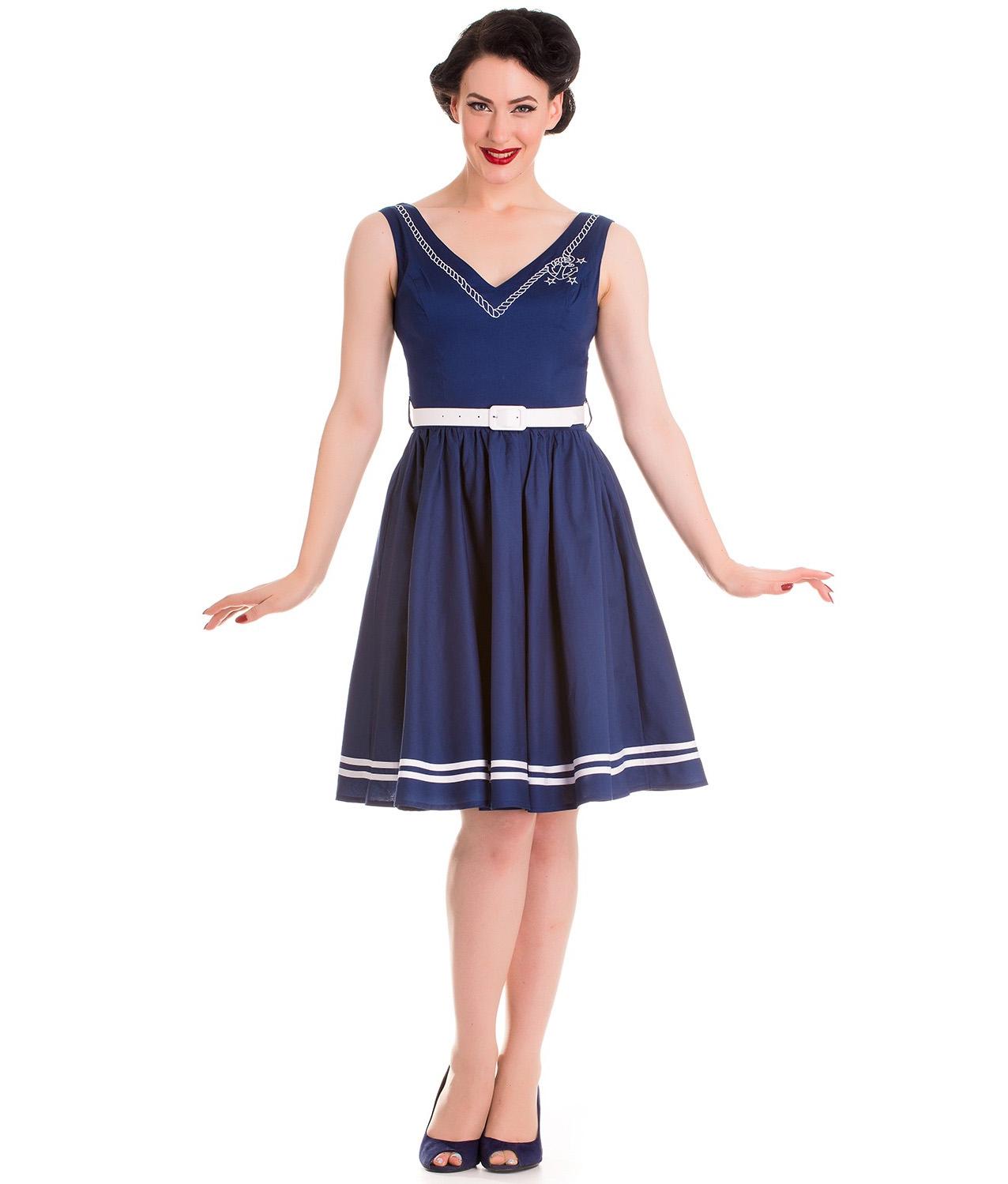 Hell-Bunny-Nautical-Sailor-Pin-Up-Mid-Length-50s-Dress-ARIEL-Navy-Blue-All-Sizes thumbnail 3