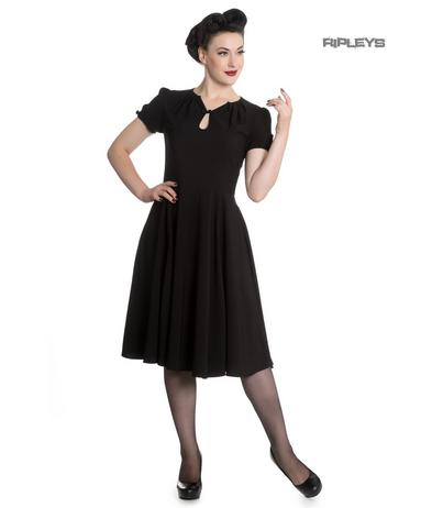 Hell Bunny Vintage Pin Up 40s 50s RILEY Black Tea Dress All Sizes