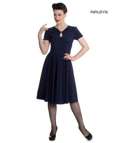 Hell Bunny Vintage Pin Up 40s 50s RILEY Navy Blue Tea Dress All Sizes