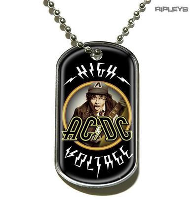 Official Ball Chain Necklace ACDC Angus Young Dog Tag HIGH VOLTAGE