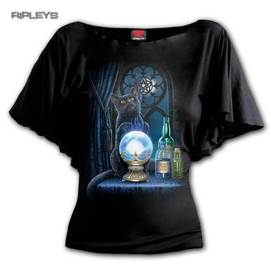 Spiral Ladies Black Cat Magic WITCHES APPRENTICE Bat Wing Top All Sizes