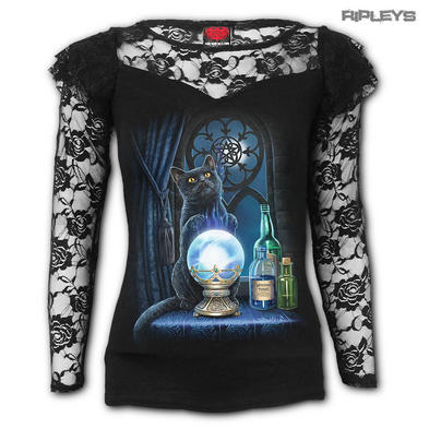 Spiral Ladies Goth Magic Black Cat WITCHES APPRENTICE Lace Top L/Sleeve All Size