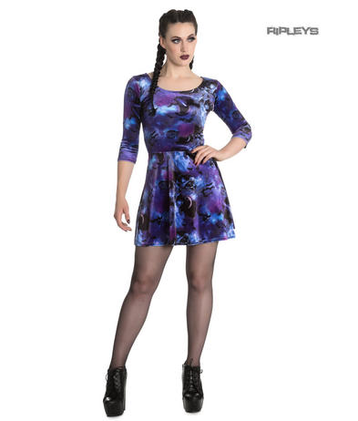Hell Bunny Spin Doctor Skater Mini Dress ORPHEUS Purple Bats Velvet All Sizes