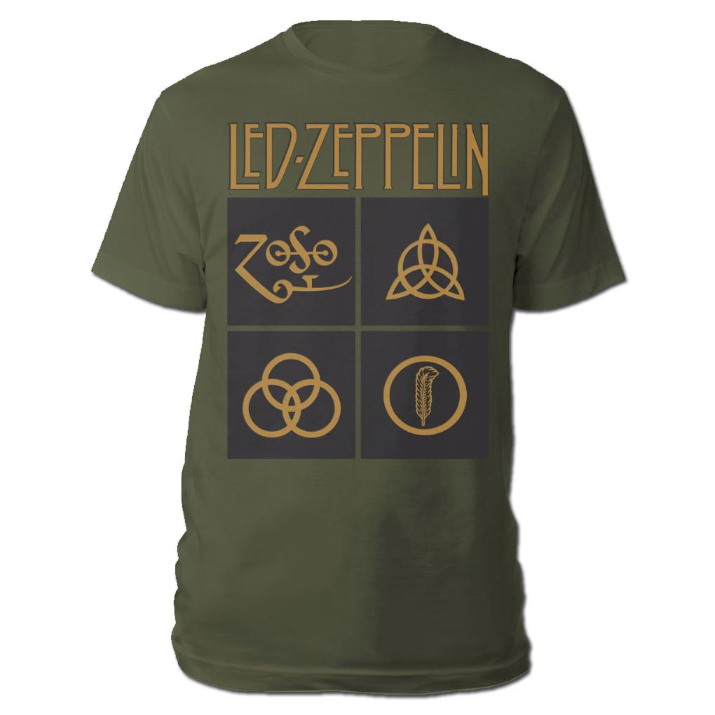 a7caa6665 Sentinel Official T Shirt LED ZEPPELIN Black & Gold Box Symbols Olive Green  All Sizes
