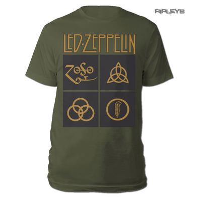 Official T Shirt LED ZEPPELIN Black & Gold Box Symbols Olive Green All Sizes