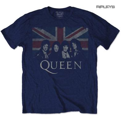 Official T Shirt QUEEN Bohemian Rhapsody Vintage UNION Jack Navy All Sizes