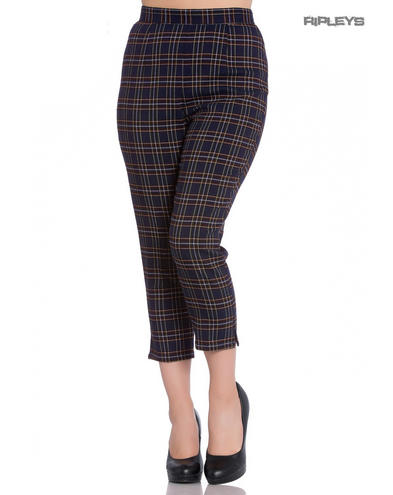 Hell Bunny 40s 50s Navy Blue Tartan PEEBLES Cigarette Capris Trousers All Sizes