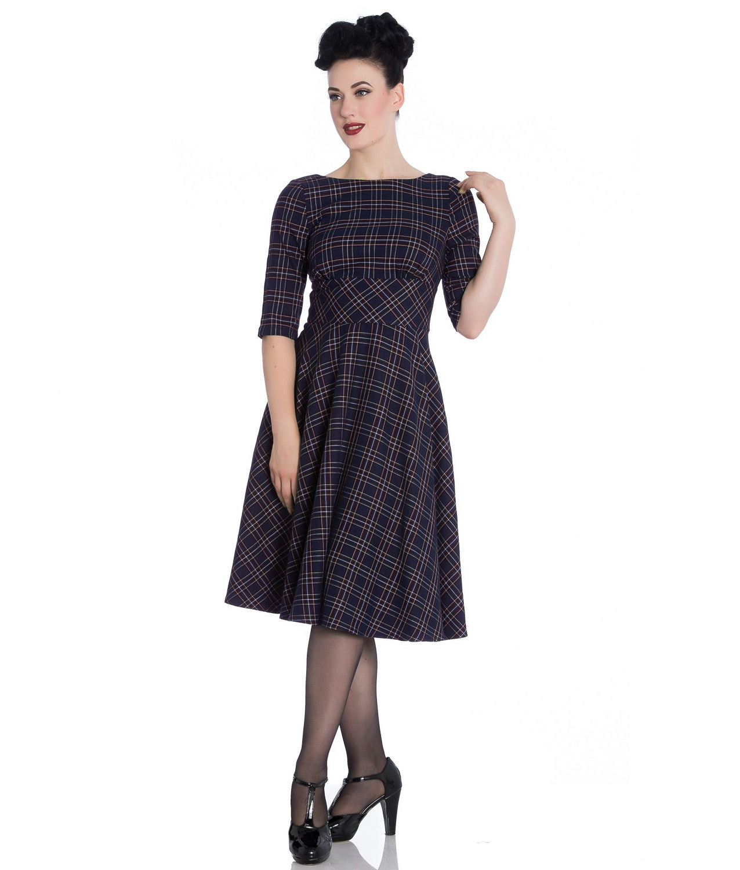 Hell-Bunny-40s-50s-Pin-Up-Wartime-Dress-Peebles-NAVY-Blue-Tartan-All-Sizes thumbnail 15