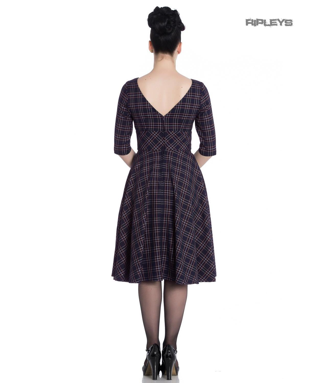 Hell-Bunny-40s-50s-Pin-Up-Wartime-Dress-Peebles-NAVY-Blue-Tartan-All-Sizes thumbnail 16