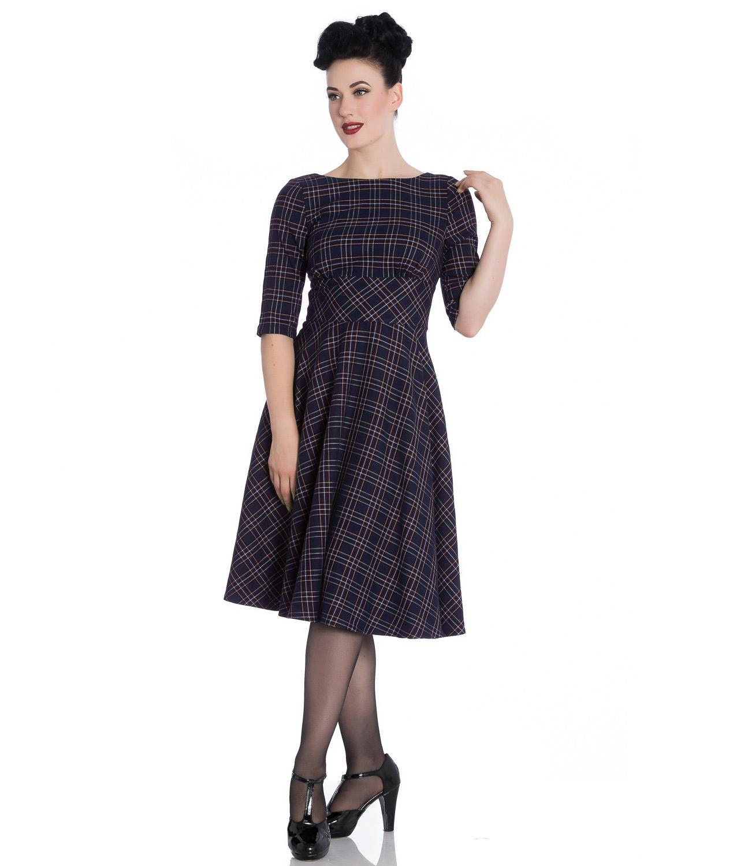Hell-Bunny-40s-50s-Pin-Up-Wartime-Dress-Peebles-NAVY-Blue-Tartan-All-Sizes thumbnail 7