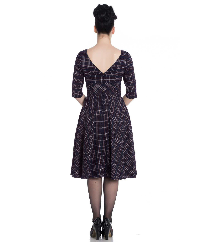 Hell-Bunny-40s-50s-Pin-Up-Wartime-Dress-Peebles-NAVY-Blue-Tartan-All-Sizes thumbnail 13