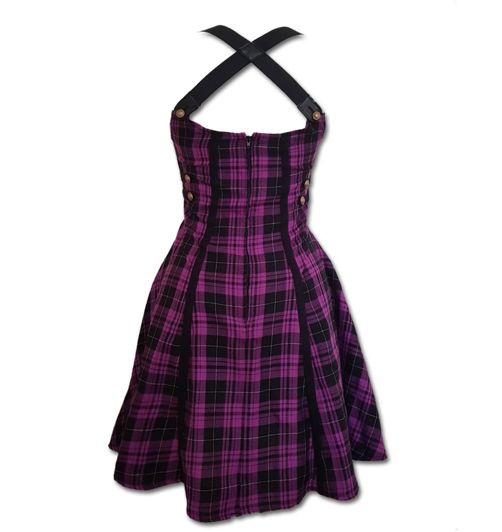 Hell-Bunny-Grunge-Punk-Goth-Tartan-Mini-Skater-Dress-ROCK-Purple-All-Sizes thumbnail 5