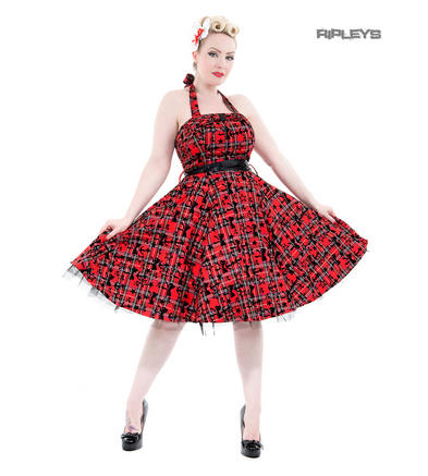 H&R Hearts & Roses London 50s Goth Punk Dress 'Kiara' Red Tartan All Sizes