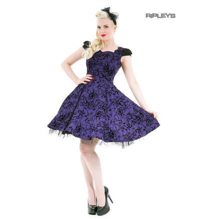 H&R Hearts & Roses London 50s Gothic Tattoo Dress 'Flocked' Purple All Sizes
