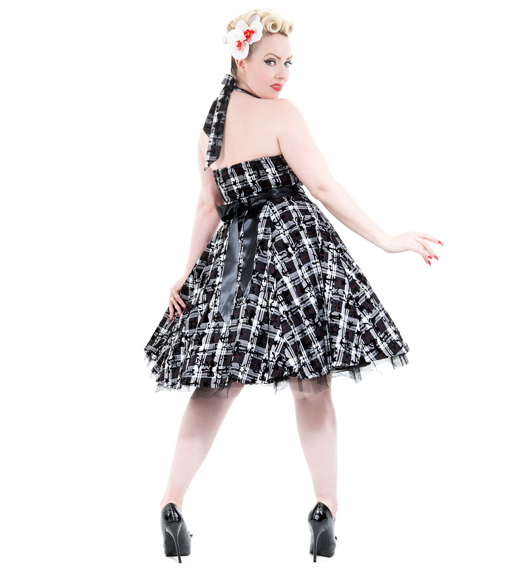 H-amp-R-Hearts-amp-Roses-London-50s-Goth-Punk-Dress-039-Kiara-039-White-Tartan-All-Sizes thumbnail 17