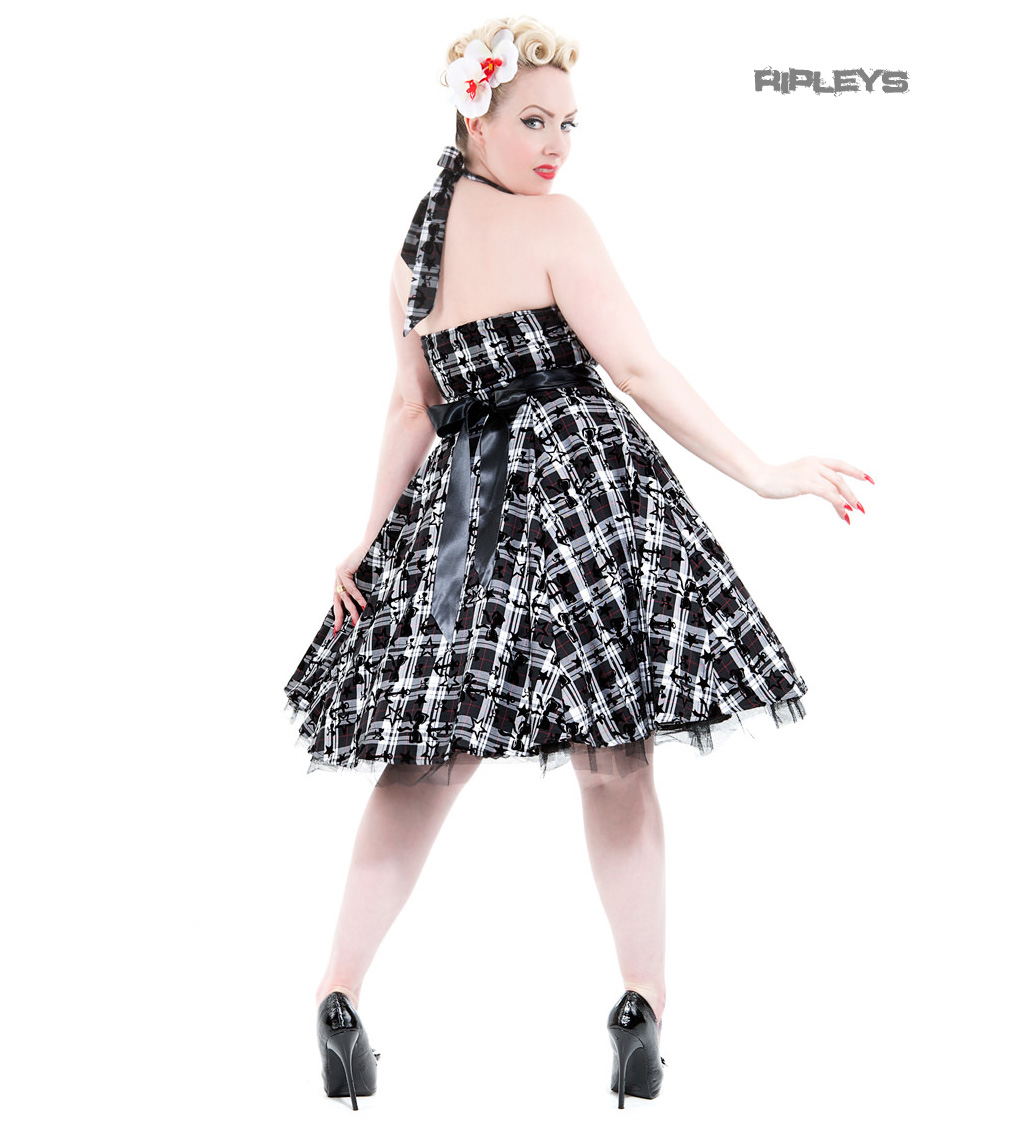H-amp-R-Hearts-amp-Roses-London-50s-Goth-Punk-Dress-039-Kiara-039-White-Tartan-All-Sizes thumbnail 12
