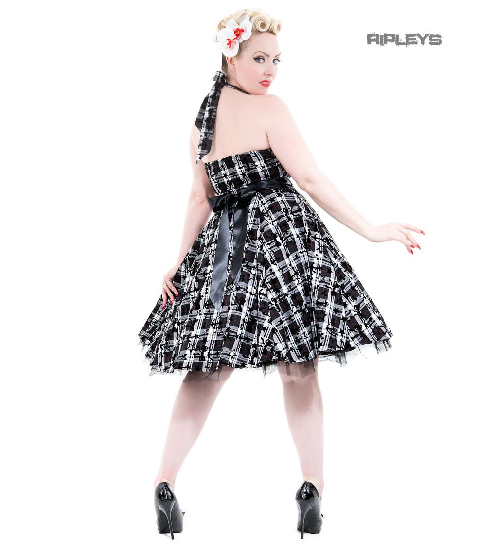 H-amp-R-Hearts-amp-Roses-London-50s-Goth-Punk-Dress-039-Kiara-039-White-Tartan-All-Sizes thumbnail 8