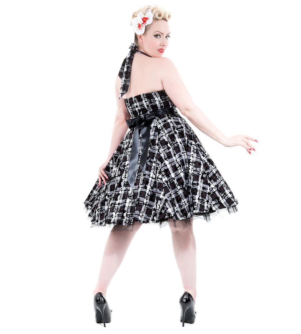 H-amp-R-Hearts-amp-Roses-London-50s-Goth-Punk-Dress-039-Kiara-039-White-Tartan-All-Sizes thumbnail 5
