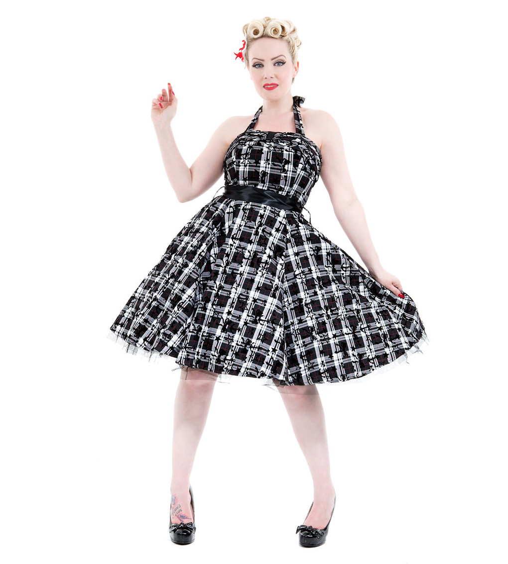 H-amp-R-Hearts-amp-Roses-London-50s-Goth-Punk-Dress-039-Kiara-039-White-Tartan-All-Sizes thumbnail 3