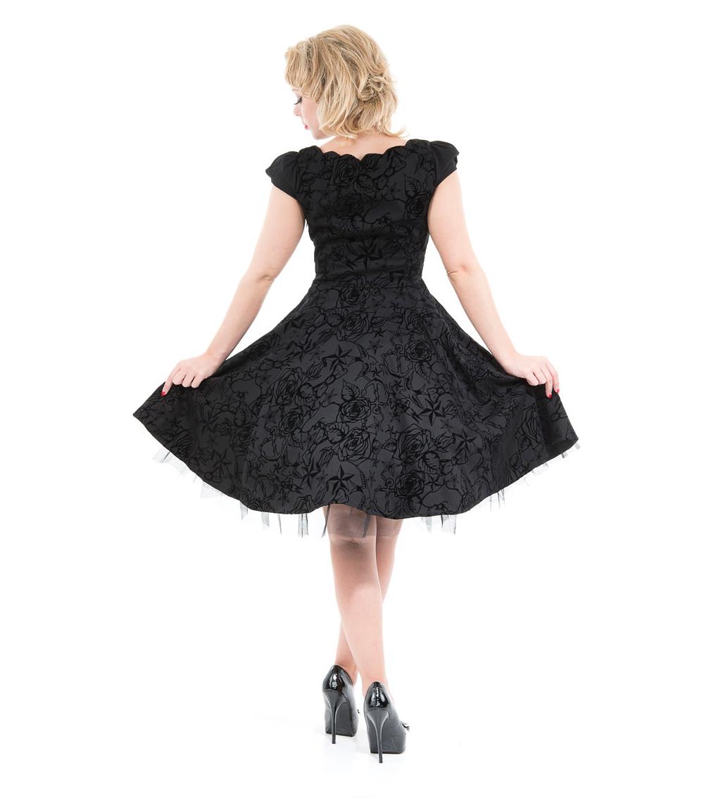 H-amp-R-Hearts-amp-Roses-London-50s-Gothic-Tattoo-Dress-039-Flocked-039-Black-All-Sizes thumbnail 5