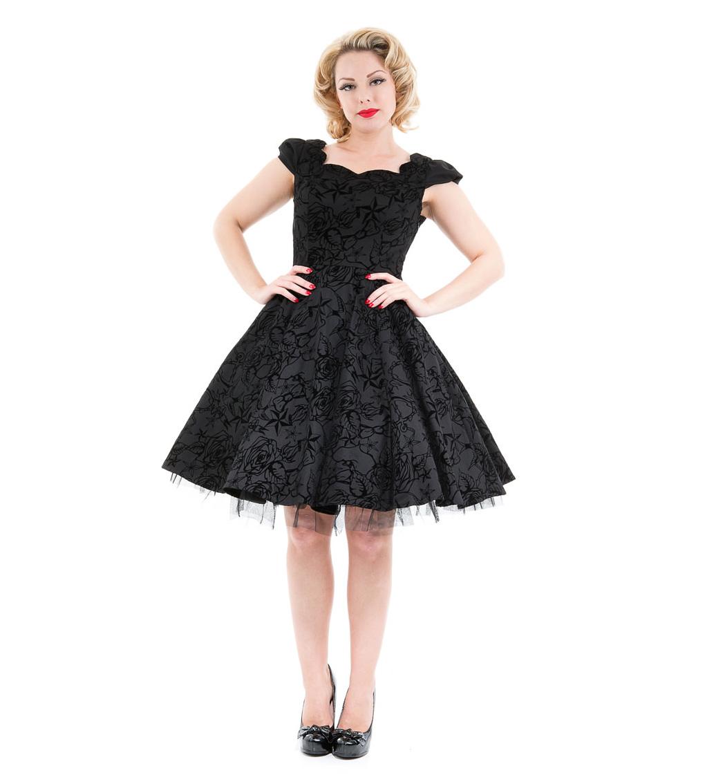 H-amp-R-Hearts-amp-Roses-London-50s-Gothic-Tattoo-Dress-039-Flocked-039-Black-All-Sizes thumbnail 3