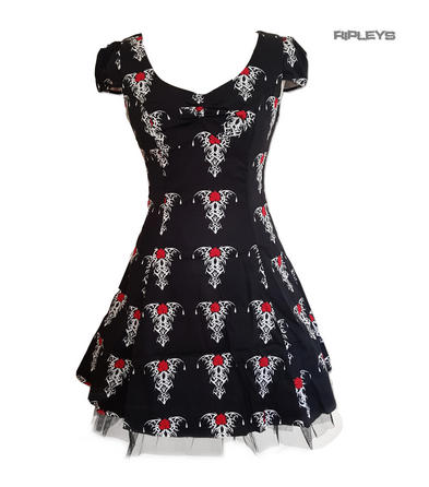 H&R Hearts & Roses Black Goth Punk Mini Dress 'Tribal Tattoo' Rose All Sizes