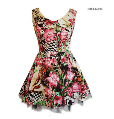 H&R Hearts & Roses London Pink Mini Dress 'Lily Checkerboard' Flowers All Sizes