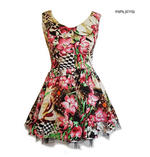 H&R Hearts & Roses London Pink Mini Dress 'Lily Checkerboard' Flowers All Sizes Thumbnail 1