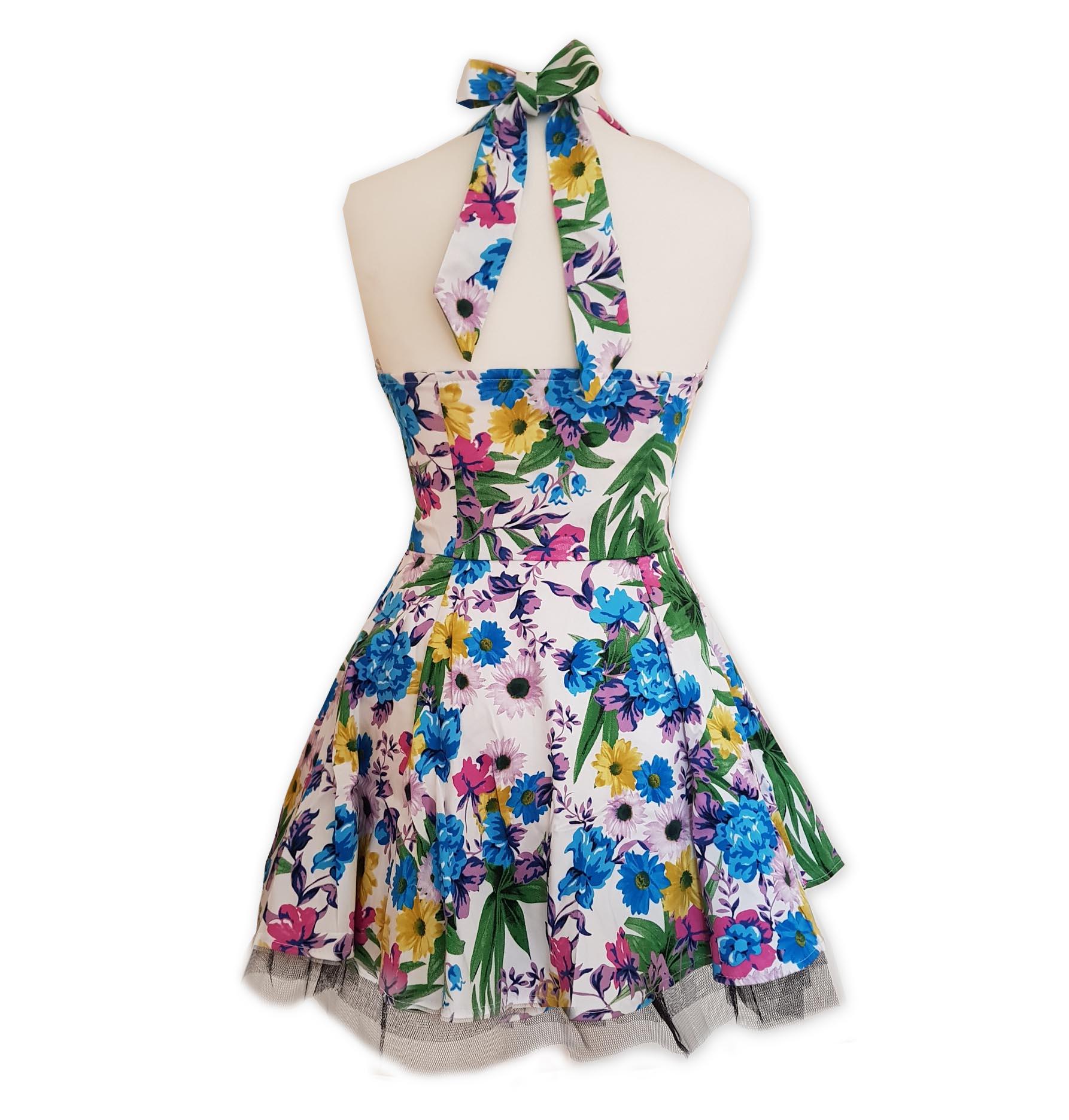 H-amp-R-Hearts-amp-Roses-London-White-Mini-Dress-039-Summer-Day-039-Flowers-All-Sizes thumbnail 5