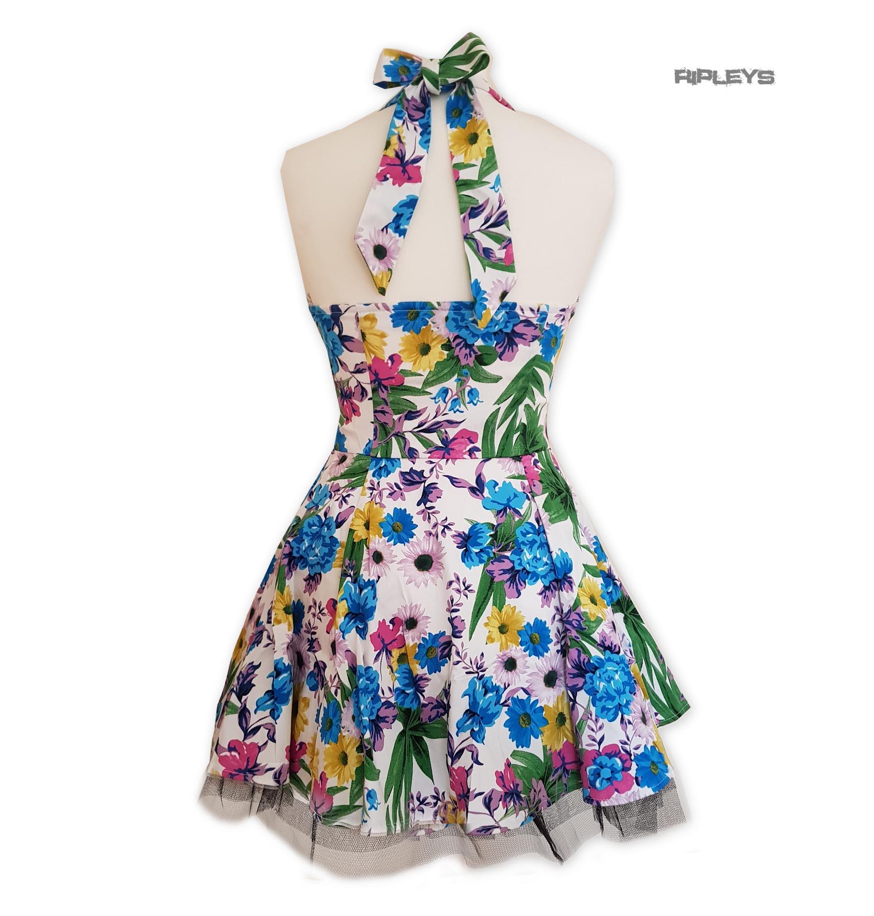H-amp-R-Hearts-amp-Roses-London-White-Mini-Dress-039-Summer-Day-039-Flowers-All-Sizes thumbnail 4