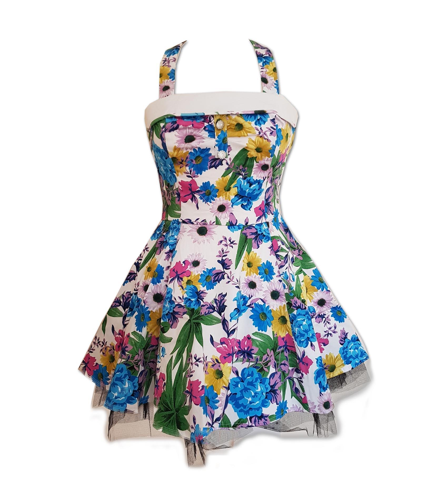 H-amp-R-Hearts-amp-Roses-London-White-Mini-Dress-039-Summer-Day-039-Flowers-All-Sizes thumbnail 3