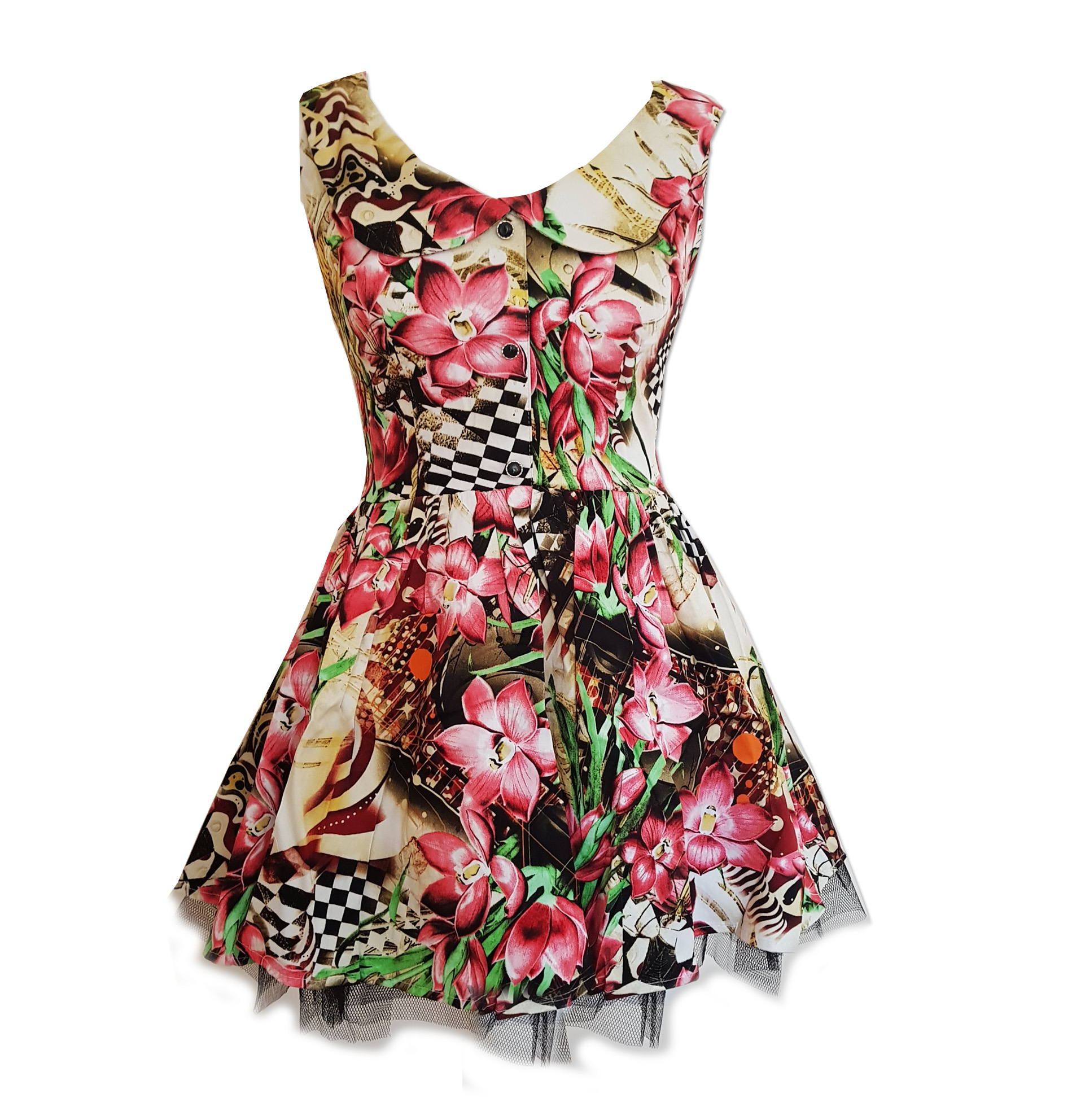 H-amp-R-Hearts-amp-Roses-London-Pink-Mini-Dress-039-Lily-Checkerboard-039-Flowers-All-Sizes thumbnail 3