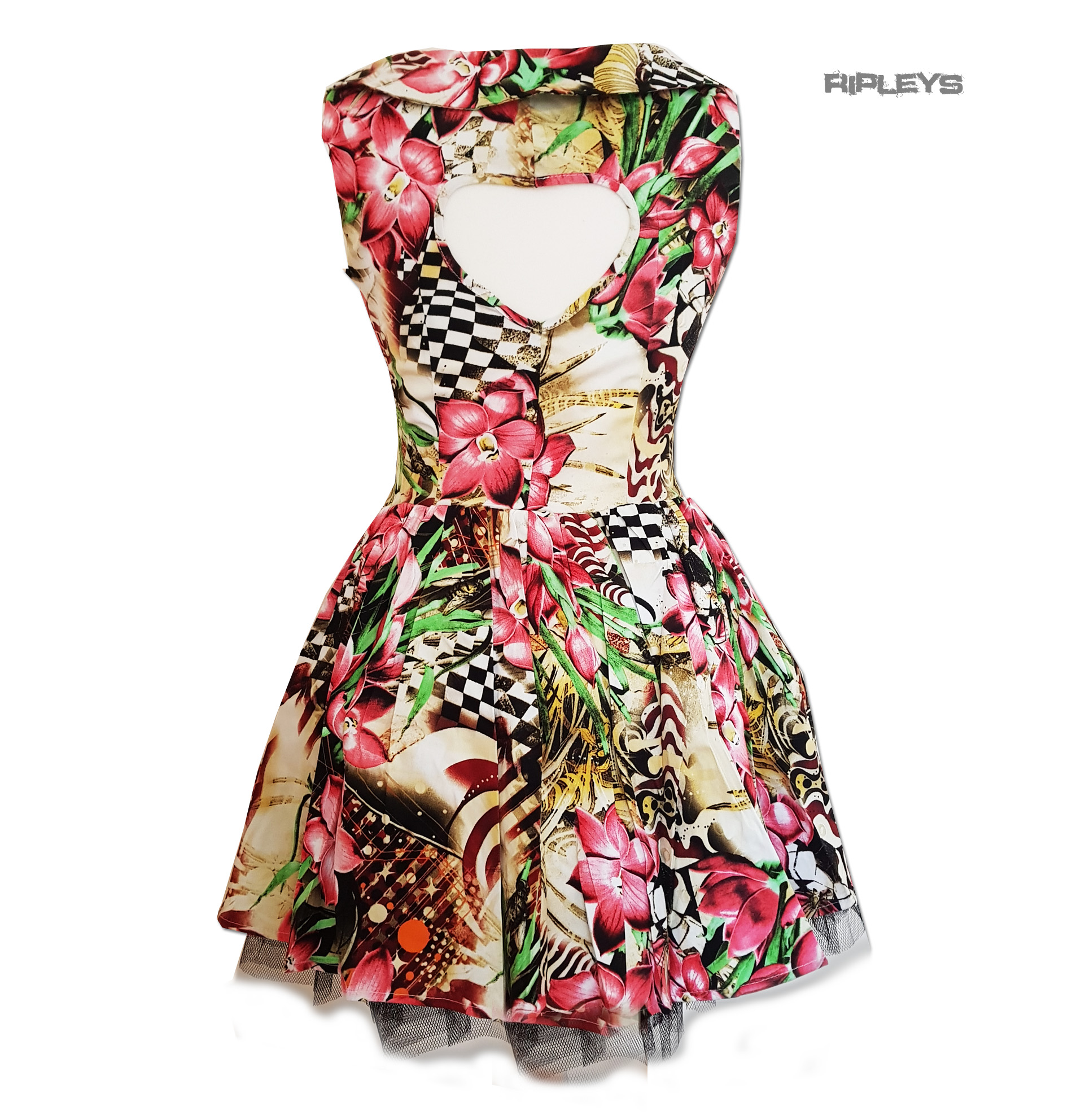 H-amp-R-Hearts-amp-Roses-London-Pink-Mini-Dress-039-Lily-Checkerboard-039-Flowers-All-Sizes thumbnail 4